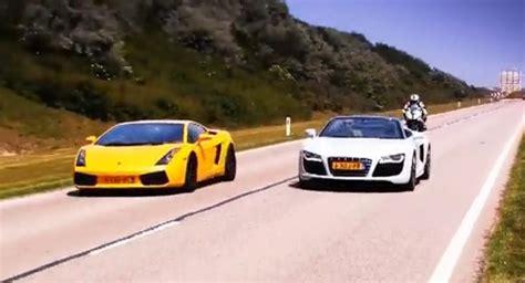Lamborghini Vs R8 Audi R8 V10 Spyder Vs Lamborghini Gallardo Vs Bmw S1000rr