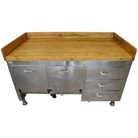 Stainless Steel Kitchen Island With Butcher Block Top Kitchen Island With Butcher Block Top And Steel Base Circa 1930s At 1stdibs