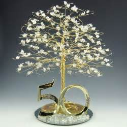 50th cake topper 50th anniversary cake topper tree sculpture gold and clear