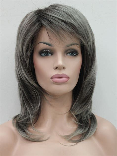Wig Daily 92 Brown fashion stylish brown medium wavy daily wig grey wigs uk