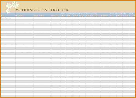 wedding guest excel spreadsheet 4 wedding guest list excel expense report