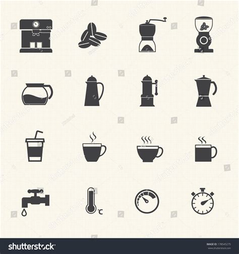 flat design video maker coffee maker icons set vector flat stock vector 178545275