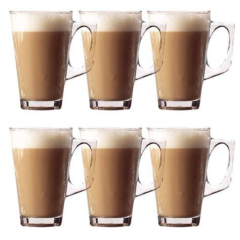 Glass Coffee Cup 6 x 240ml latte glasses tea cappuccino glass tassimo costa