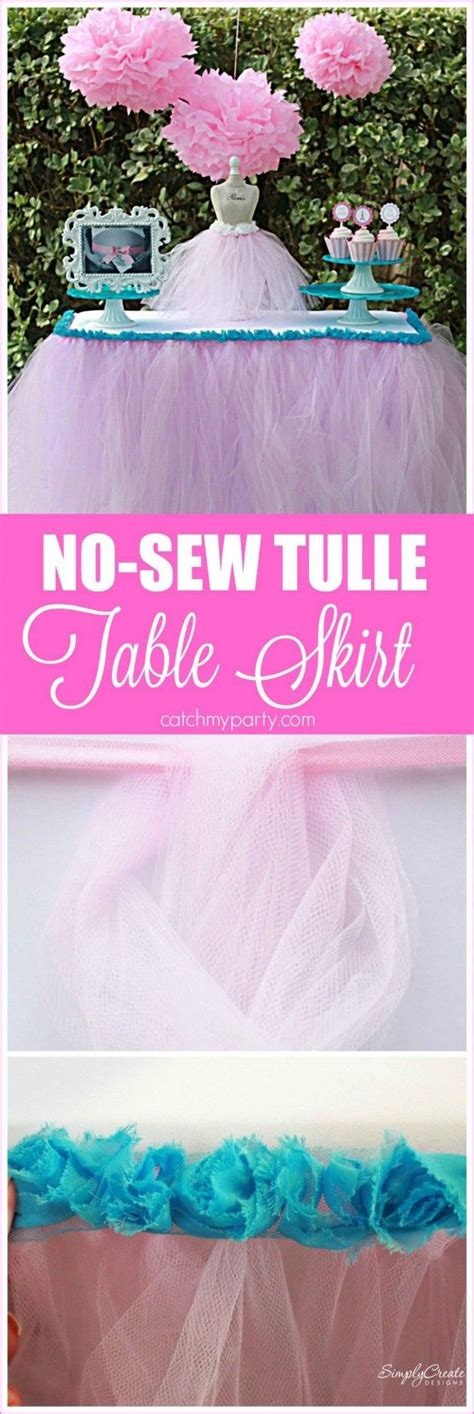 Easy Diy Tulle Table Skirt by No Sew Tulle Table Skirt Tulle Table Skirt Tulle Table