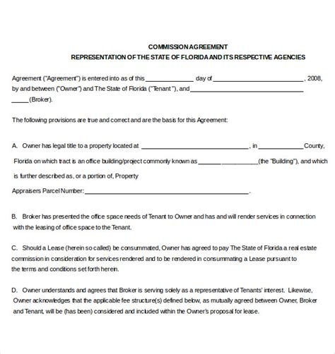 commission split agreement template commission agreement template 22 free word pdf