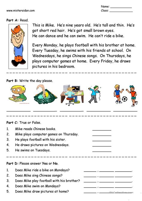 new year easy reading days of the week easy reading comprehension worksheet