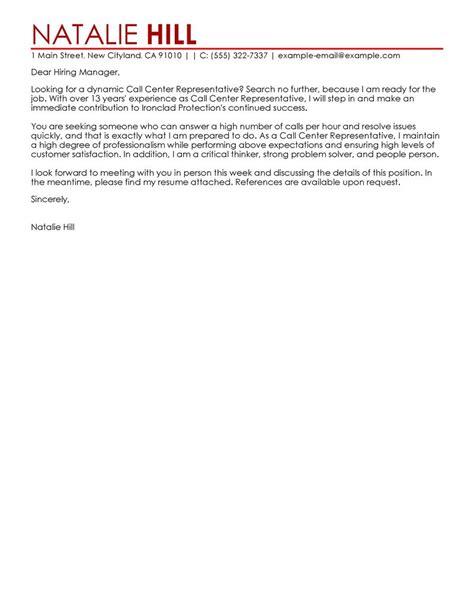 Call Center Representative Cover Letter Examples