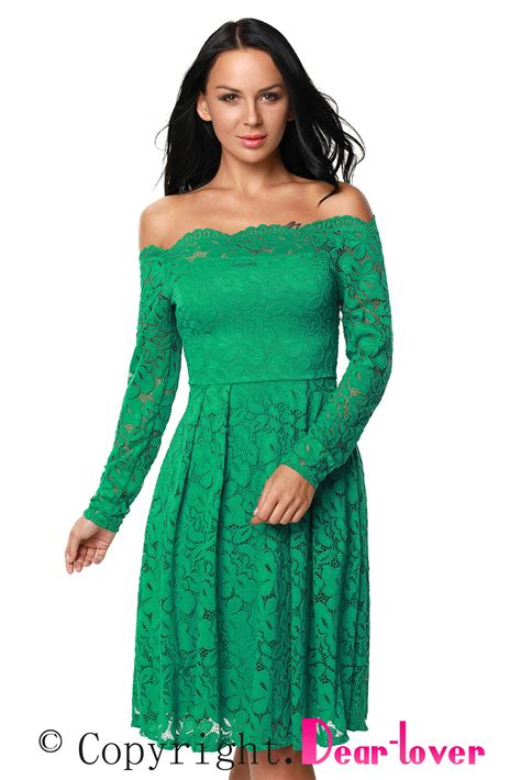 boat neck green dress green long sleeve floral lace boat neck cocktail swing dress