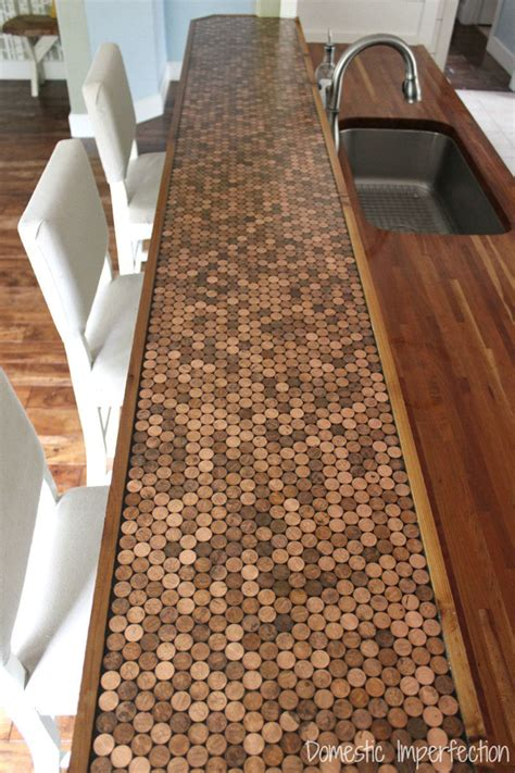 penny bar top diy kitchen design idea 5 unconventional materials you can