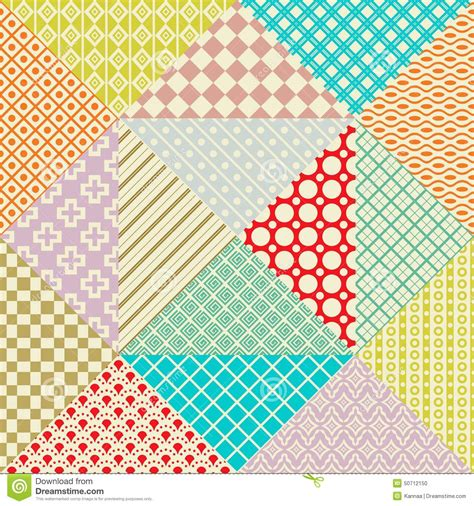 Patchwork Web - retro patchwork 16 vector seamless patterns stock vector