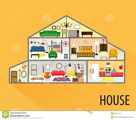 house interior cartoon house cartoon interior stock photo image 55810128