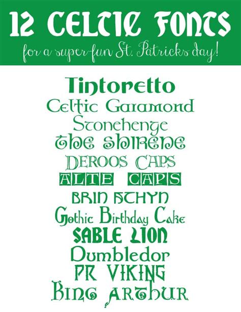 Printable Irish Font | 12 celtic fonts for a super fun st patrick s day