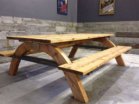 hand  industrial picnic table  farmhouse table