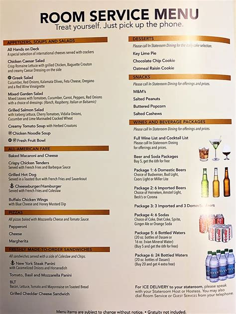Room Service Menu by Carnival Cruise Room Service Imgarcade News