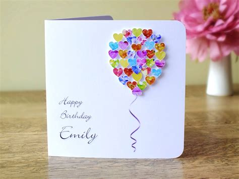 Handmade B Day Cards - handmade 3d birthday card personalised colourful balloons