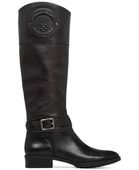 vince camuto black boots lyst vince camuto phillie wide calf boots in black