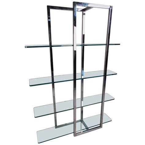 etagere 9 cases modern chrome and glass four shelf 201 tag 232 re for sale at 1stdibs
