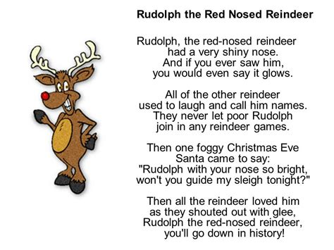 printable lyrics to rudolph the red nosed reindeer christmas songs rudolph the red nosed reindeer christmas
