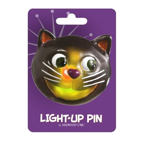 Black Cat Halloween Light Up Pin Acrylic Jewelry Midwest Cbk Light Up Pins
