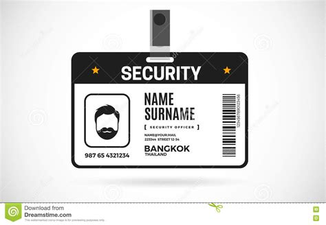 security guard id card template security id card set vector design illustration stock