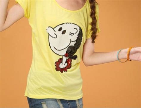 Kaos Olive Popeye Tshirt womens t shirt sequin olive oyl popeye the sailor blouse top disney