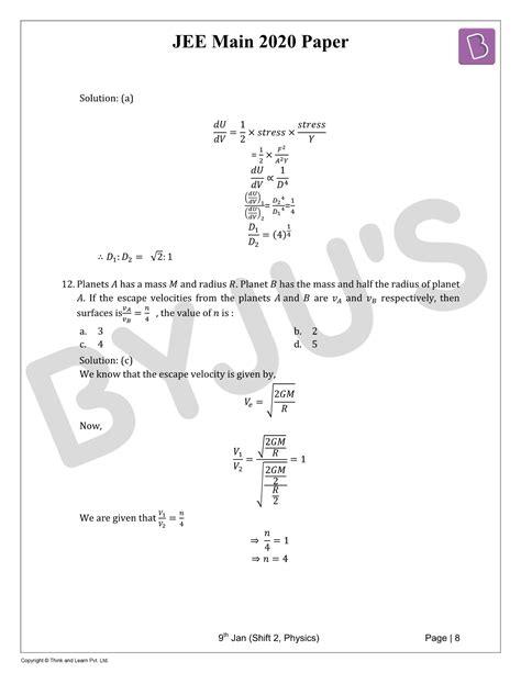 JEE Main 2020 Physics (Shift-2, 9th Jan) Paper with