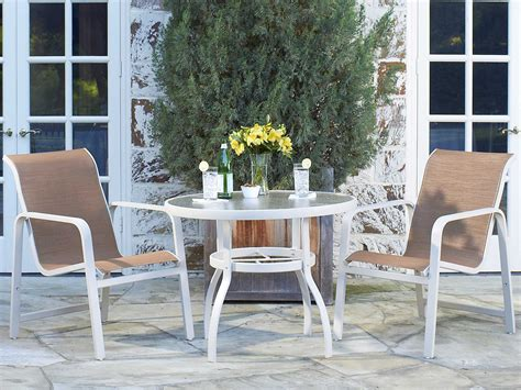 woodard deluxe oval glass dining table woodard deluxe aluminum 30 round obscure glass top dining