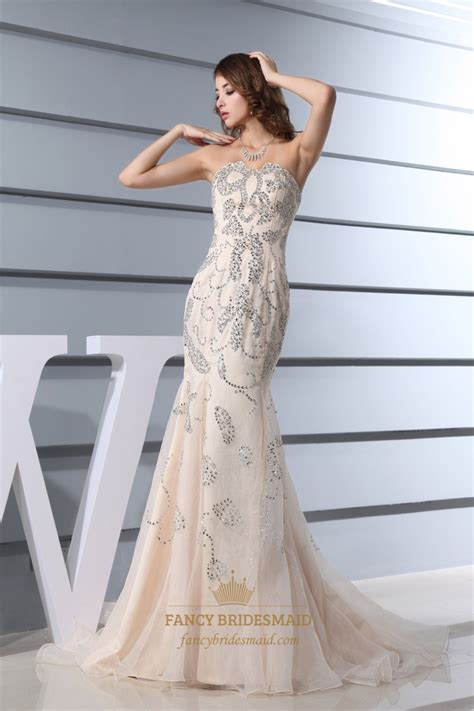 strapless beaded mermaid prom dress chagne