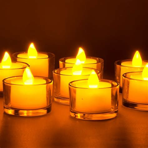 led votive candles box of 12 amber and white wholesale