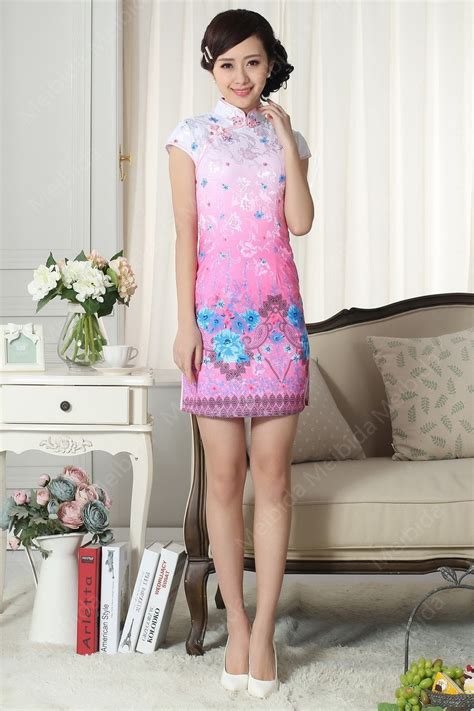 Custom Order By Great Store Grosir merah muda cheongsam lukisan bunga yang indah gaya cina