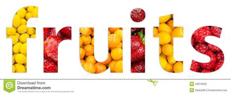 fruit 4 letter word healthy fresh fruits word text stock illustration