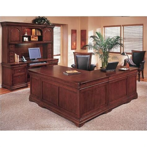 Executive Desk L Shaped Flexsteel Rue De Lyon Executive L Shaped Desk In Ruby Cabernet 7684 5xa