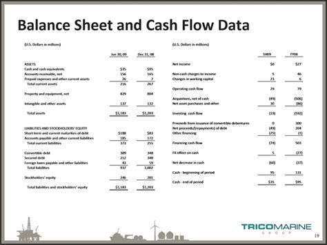 sle cash flow and balance sheet balance sheet and cash flow data