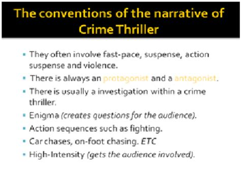 themes and conventions definition as media coursework conventions of crime thriller genre