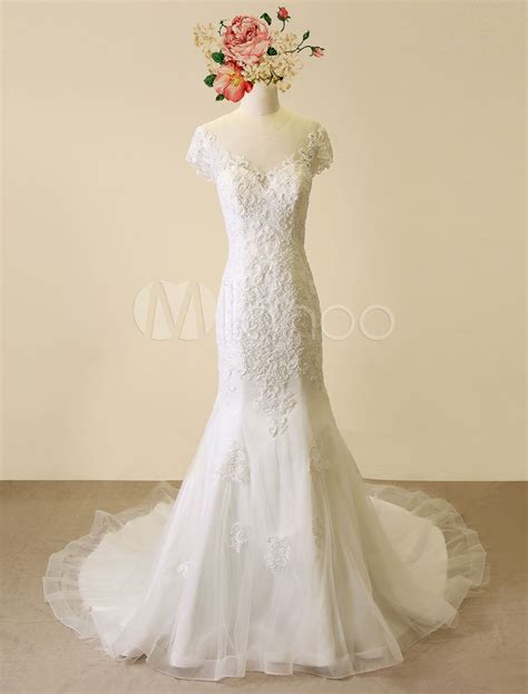 mermaid wedding dress with beading high qulity mermaid lace wedding dress chaple tulle