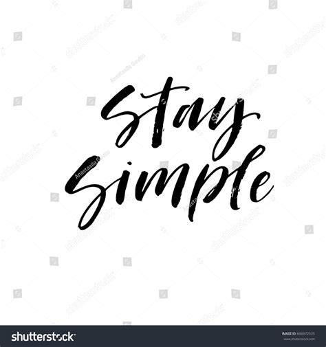 Stay Simple stay simple postcard illustration modern brush stock vector 666972535