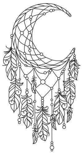 coloring pages moon dreamcatcher crescent dream catcher this is pretty cool coloring fun