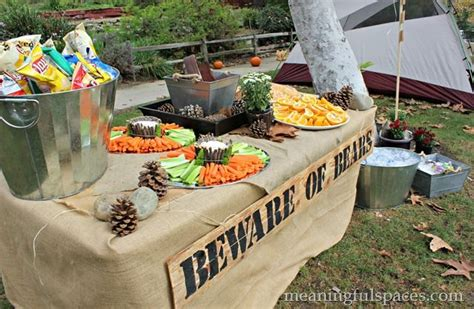 nature themed birthday party cing themed birthday party cute food table nature