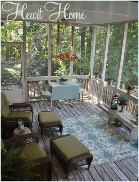 screened porch makeover rough concrete floor diy mason jar light all things heart and home