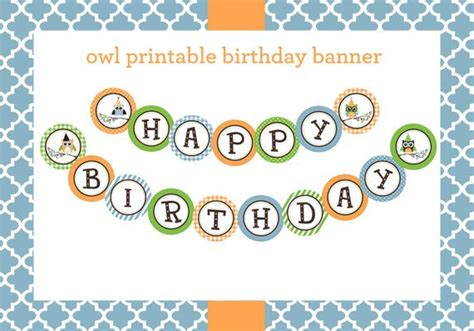 printable owl birthday banner instant download whimsical owl themed happy birthday