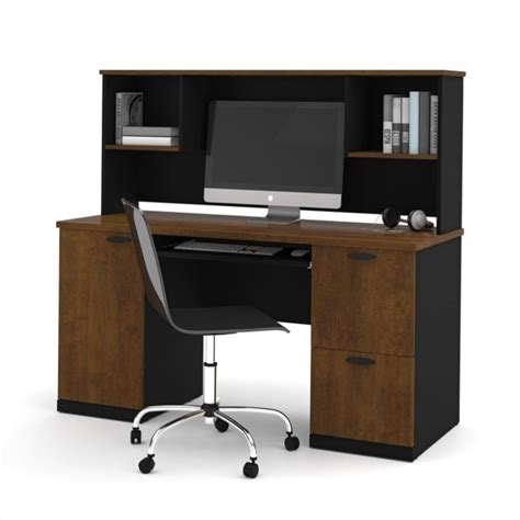 Bestar Hton Office Computer Desk With Hutch In Tuscany Black Desks With Hutch