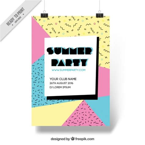 event design memphis memphis summer party poster vector free download
