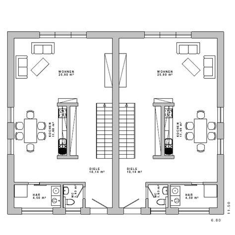 Grundriss Doppelhaus Ebenerdig by Grundriss Mfh Doppelhaus Bauhaus 18 Eg Grundrisse