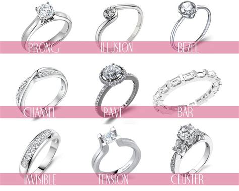 types of engagement ring settings and styles there s
