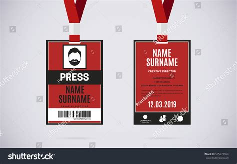 conference id card template event press id card set lanyard stock vector 505971964