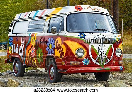 furgone figli dei fiori archivio fotografico dipinto vw hippie furgone a