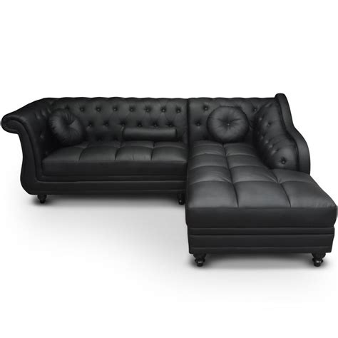 canapé chesterfield simili cuir canap 233 angle droit simili noir chesterfield lestendances fr