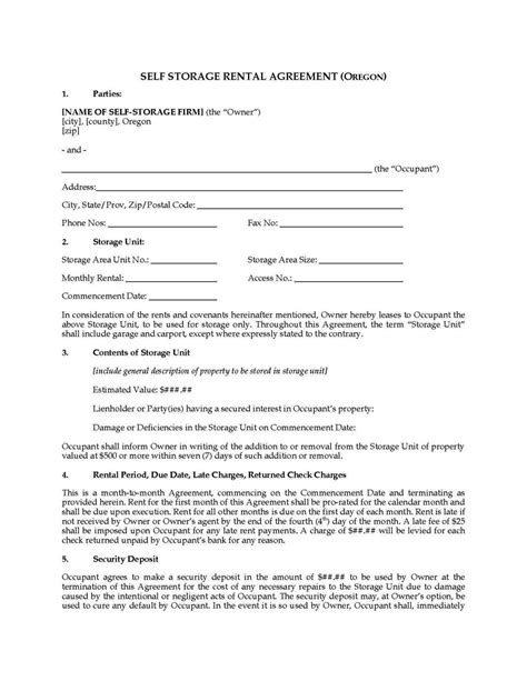 storage lease agreement template sletemplatess