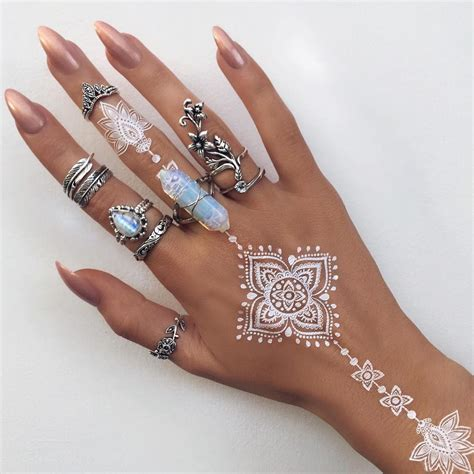 indigo henna tattoo white henna ring stacked silver rings