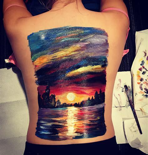 paint tattoo back painting leonid afremov